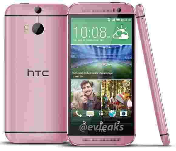 HTC一(m8)粉红色版本,前方发布