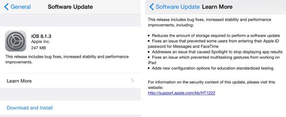 Apple Outs iOS 8.1.3和Mac OS X Yosemite 10.10.2