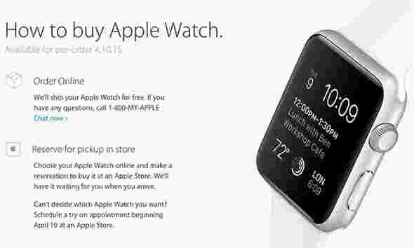 Apple Watch将在发布时储存店内拾取
