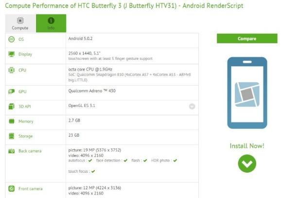 HTC蝴蝶3的规格由基准泄露