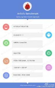 三星Galaxy A7(2016)与Exynos 7580芯片组有antutu