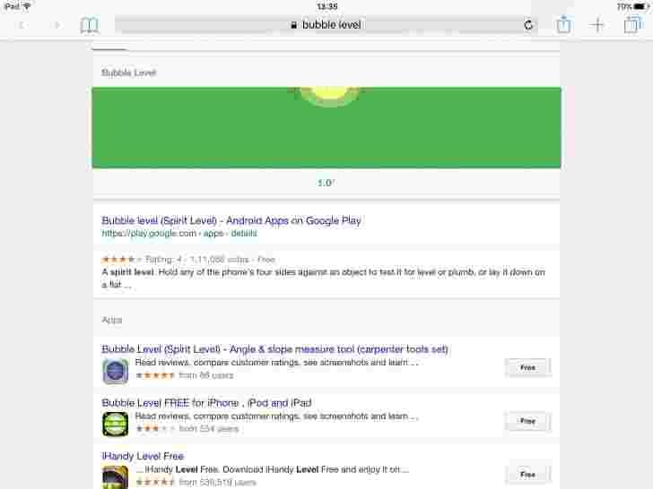 谷歌'泡泡级别'在手机上获得即时精神级别