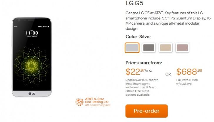 AT&T提供买一送机,在LG G5预订中获赠一笔免费交易